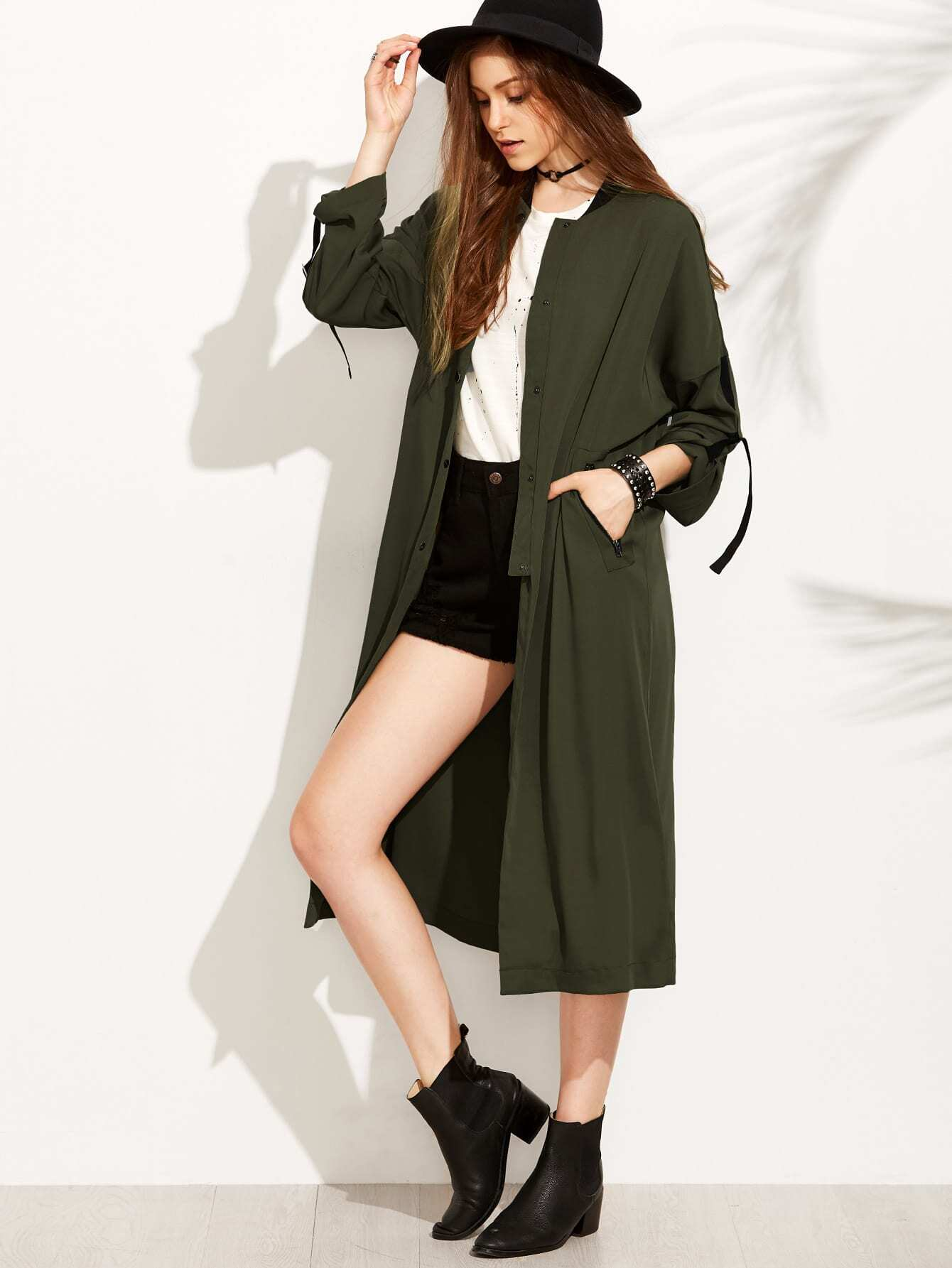 Army Green Button Pocket Rolled Up Sleeve OuterwearArmy Green Button Pocket Rolled Up Sleeve Outerwear<br><br>color: Green<br>size: M,S,XS