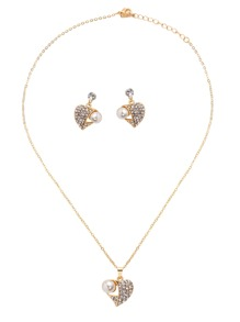 Gold Plated Rhinestone Faux Pearl Heart Pendant Jewelry Set