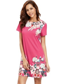Rose Red Round Neck Floral Print Casual Dress