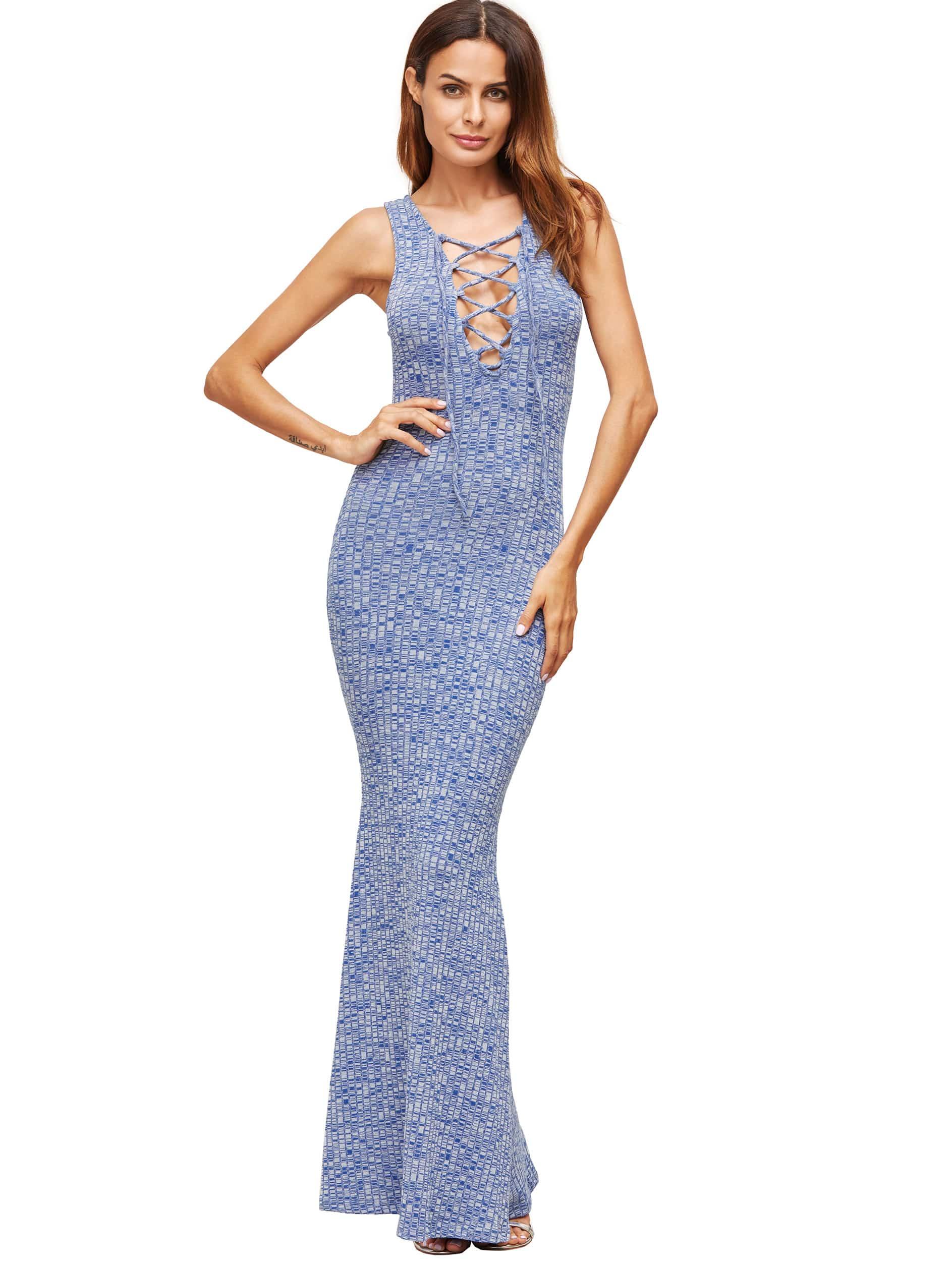 Фото Lace Up Ribbed Maxi Dress. Купить с доставкой