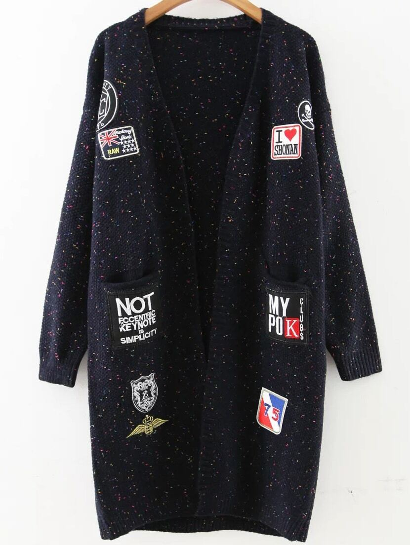 Navy Patch Embellished Drop Shoulder Sweater Coat sweater160831209