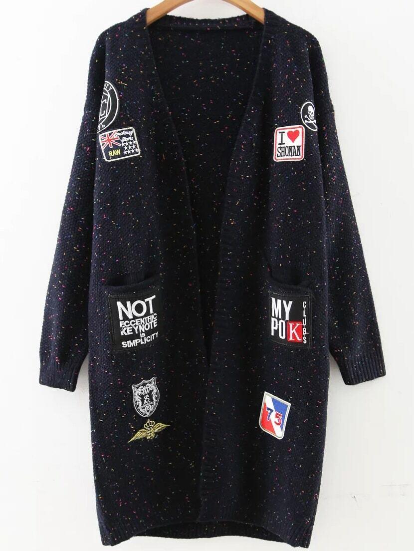 Navy Patch Embellished Drop Shoulder Sweater Coat sweater160831209