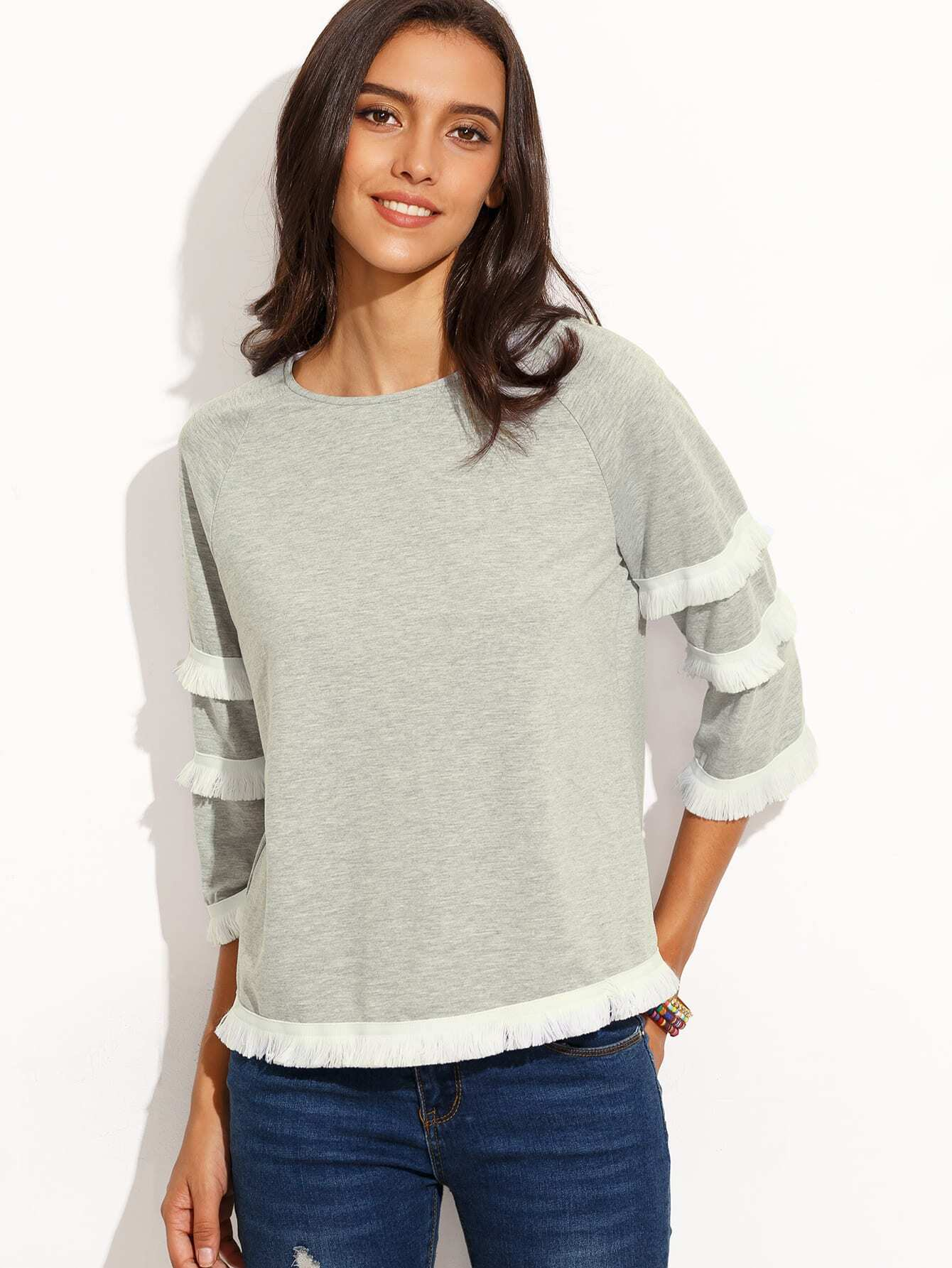 Heather Grey Raglan Sleeve Fringe Trim Detail Sweatshirt