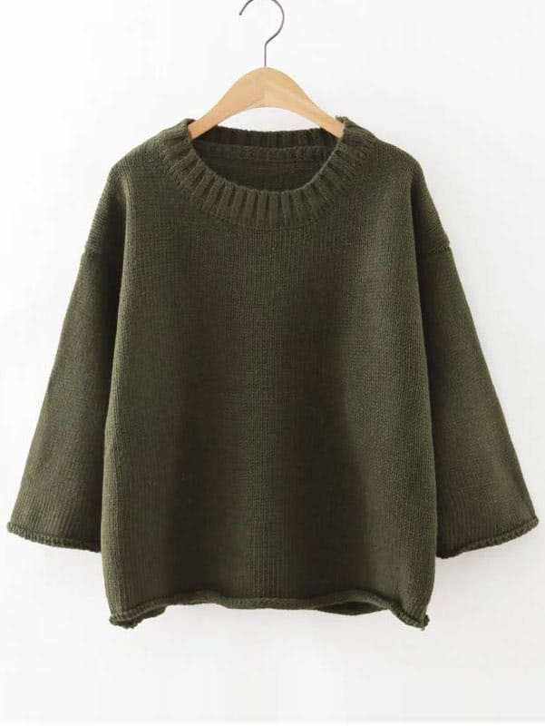 Ribbed Neck Drop Shoulder Roll Hem Sweater sweater160815214