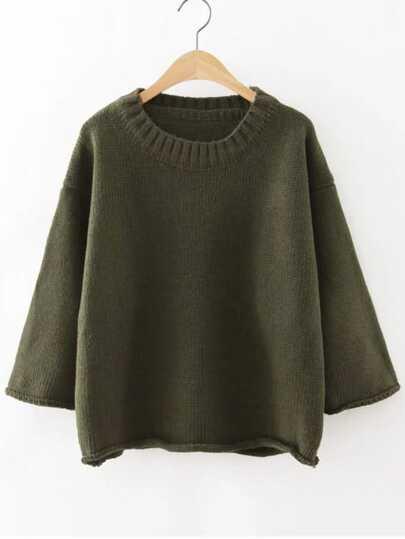Ribbed Neck Drop Shoulder Roll Hem Sweater