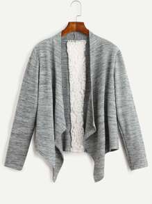 Grey Contrast Crochet Insert Asymmetrical Coat