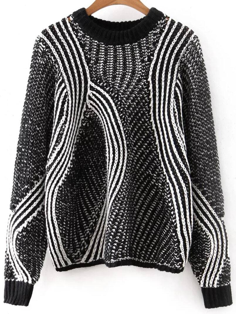 Black Mixed Knit Hollow Out Loose Sweater sweater160817244
