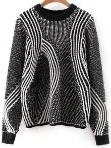 Black Mixed Knit Hollow Out Loose Sweater
