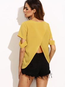Yellow Split Back Ripped Sleeve Top