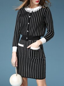 Black White Striped Top With Pockets Skirt