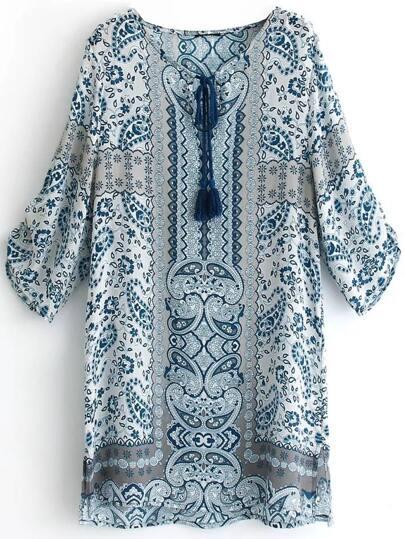 Random Tribal Print  Tassel Tie Neck Side Slit Dress