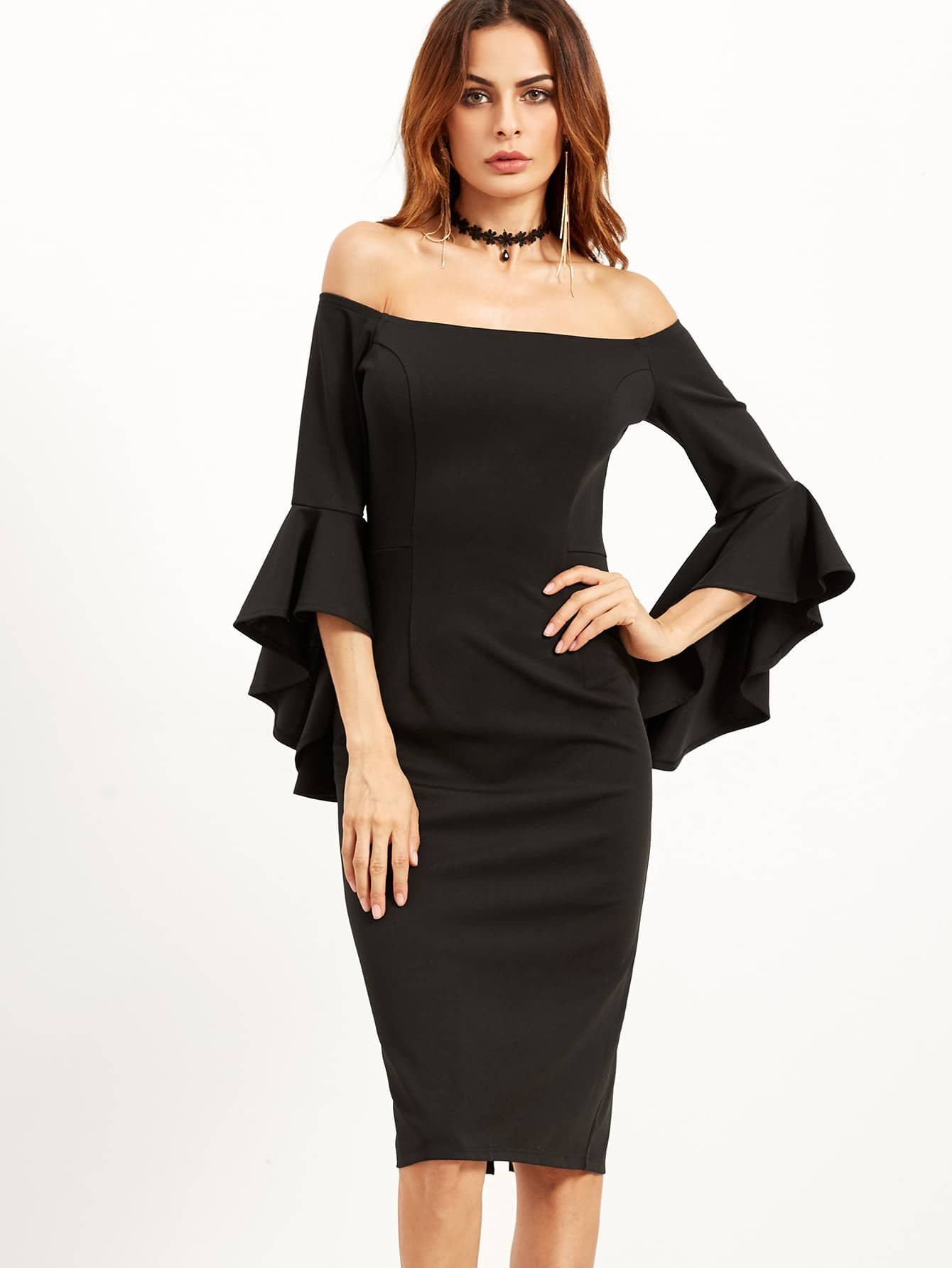 Bell Sleeve Bardot Pencil Dress Shein Sheinside