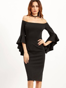 Black Bell Sleeve Off The Shoulder Pencil Dress