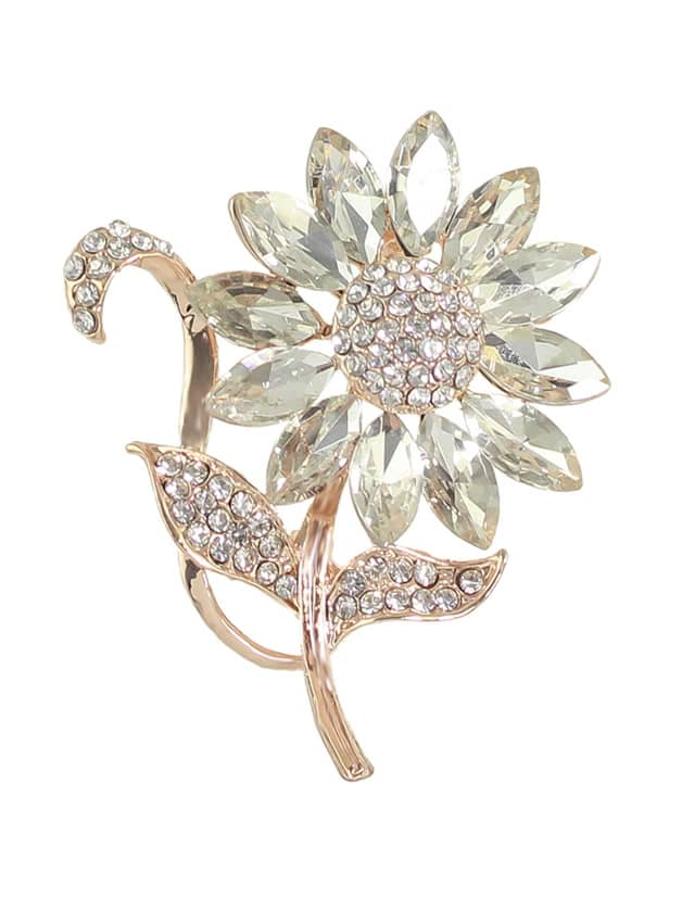 Elegant Rhinestone Flower Wedding Party Brooch For Women elegant faux gem rhinestone flower leaf brooch for women