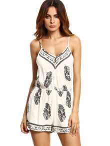 Mixed Print Beach Cami Romper