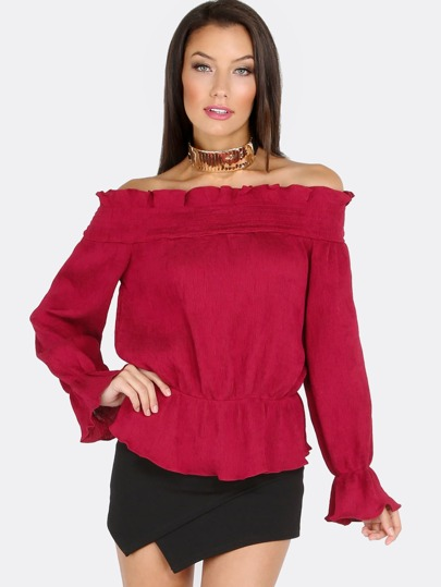 Sleeved Ruffle Open Shoulder Top BURGANDY