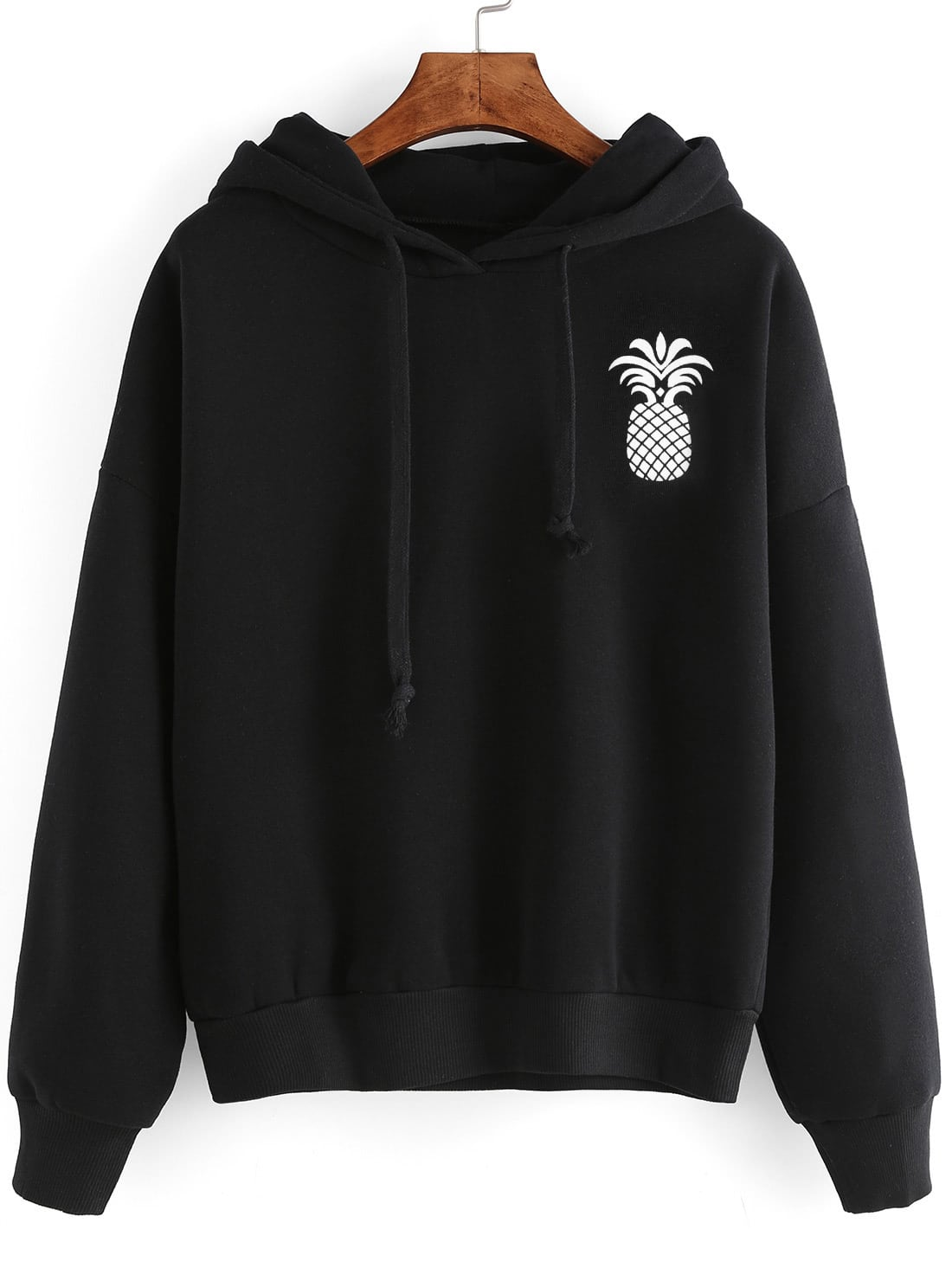 Pineapple Print Drop Shoulder Hooded Drawstring Sweatshirt drop shoulder frill hem batwing sweatshirt