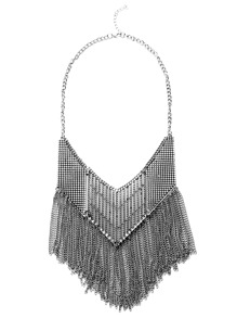 Antique Silver Chain Fringe Hollow Out Statement Necklace