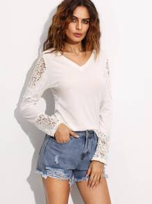 T-shirt col V manche longue en dentelle - blanc