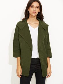 Army Green  Lapel 3/4 Sleeve Trench Coat