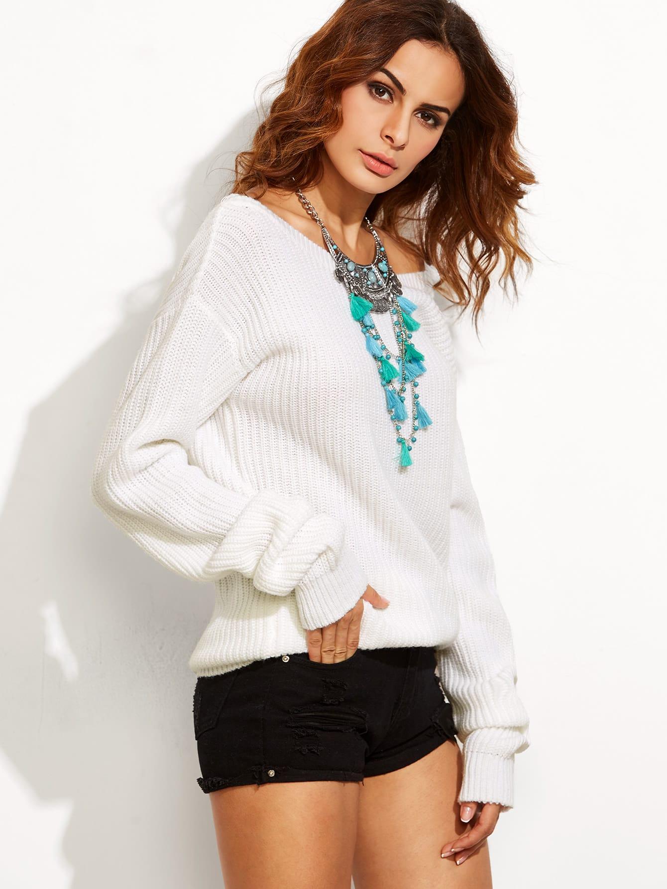 White V Back Drop Shoulder Sweater