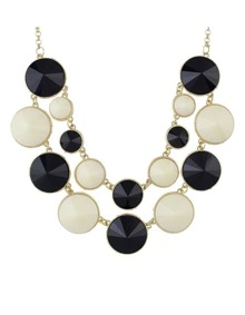 Beigeblack Double Layers Statement Necklace