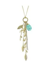Rhinestone Chain Leaf Shape Long Pendant Necklace