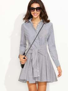 Navy Striped Sleeve Tie A Line Shirt Dress