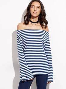 T-shirt à rayure épaules nues manche cloche - bleu