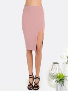 Purple Split Side Zipper Back Pencil Skirt