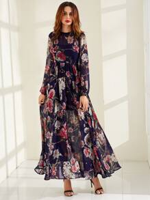 Navy Rose Print High Waist Semi Sheer Dress