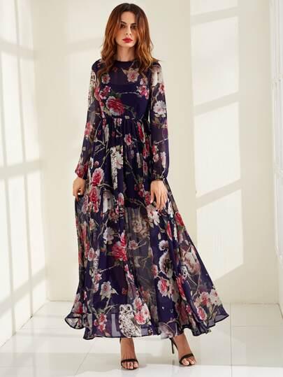 Calico Print Semi Sheer Smock Maxi Dress