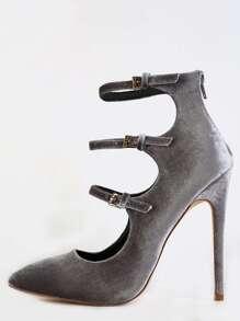 Pointed Toe Strappy Velvet Heels GREY