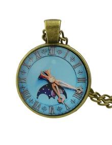 Lightblue Pocket Watch Pendant Necklace