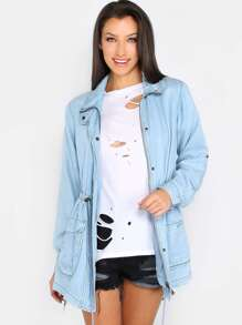 Lightweight Denim Parka Jacket DENIM