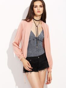 Pink Drawstring Hem Bomber Jacket