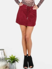 Lace Up Suede A Line Skirt BURGUNDY