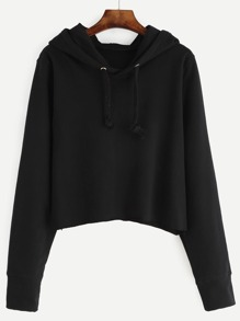 Crop Hooded Drawstring Sweatshirt