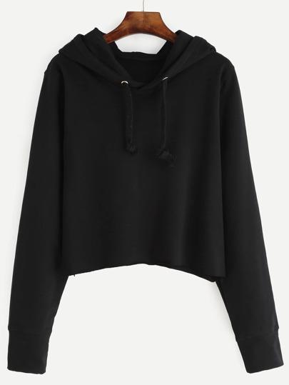 Crop Hooded Drawstring Sweatshirt