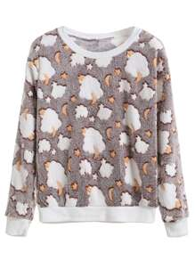 Khaki Cloud Detail Plush Sweatshirt