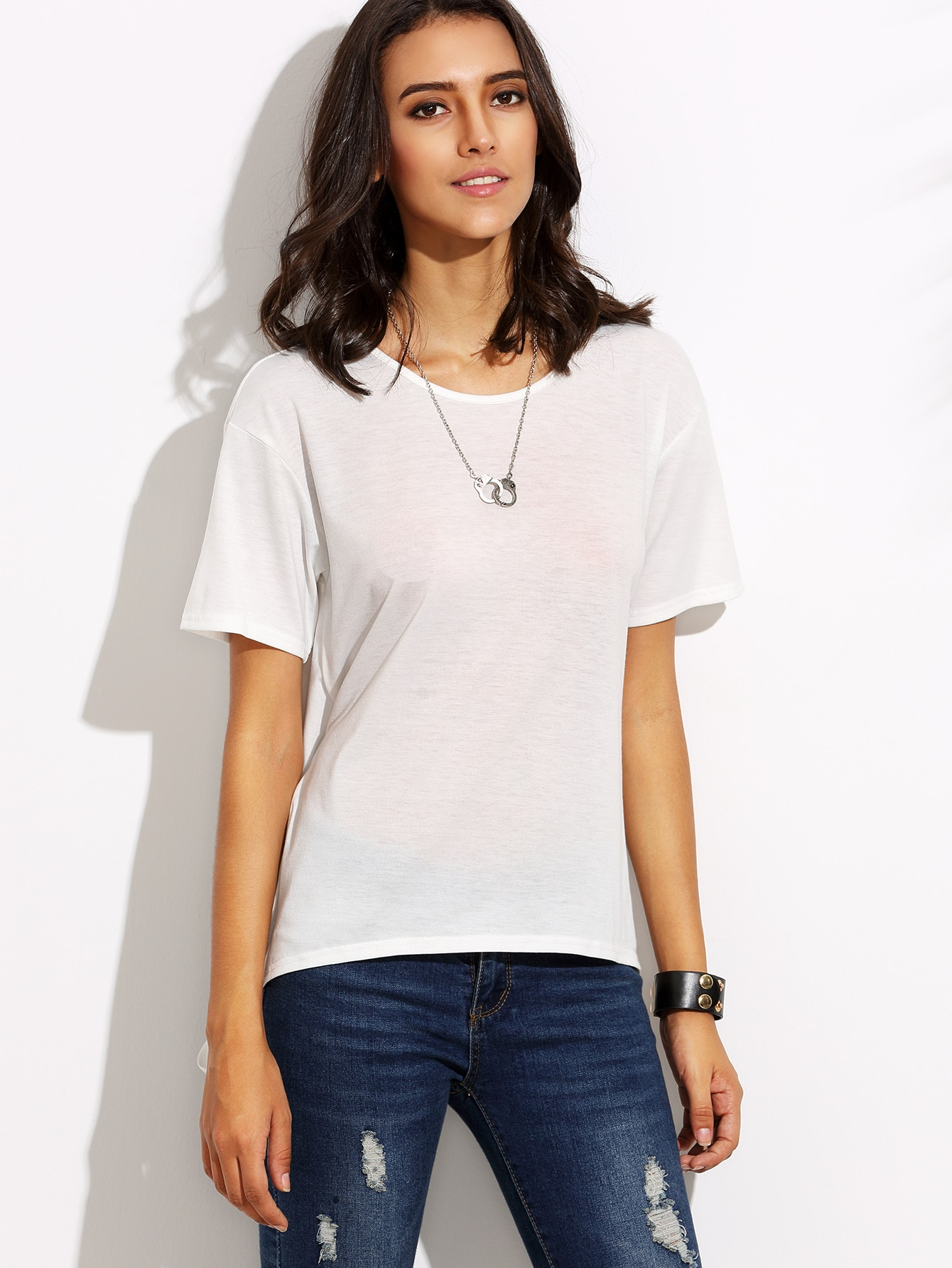 White short sleeve bow tie back t shirt shein sheinside for How to make a tie back shirt