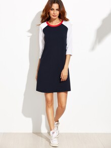 Navy Contrast Raglan Sleeve T-shirt Dress