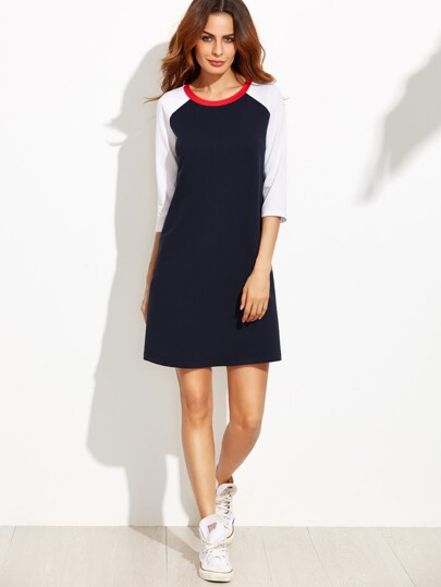 Contrast Raglan Sleeve T-shirt Dress