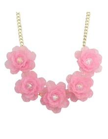 Pink Chunky Resin Flower Necklace