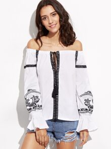 White Embroidered Off The Shoulder Lace Up Fringe Top