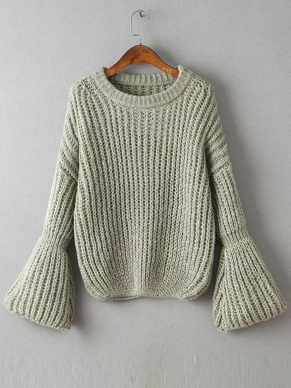 Фото Grey Drop Shoulder Bell Sleeve Oversized Sweater. Купить с доставкой