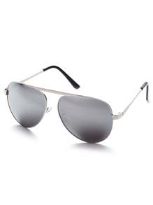 Silver Metal Arm Aviator Sunglasses