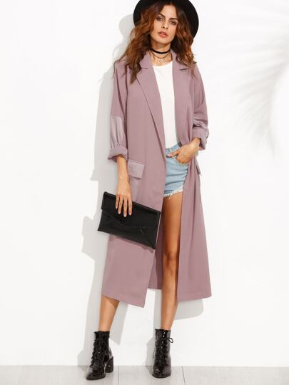 Contrast Split Side Longline Outerwear