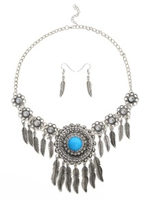 Faux Stone Inlay Feather Pendant Filigree Statement Necklace Set 2PCS