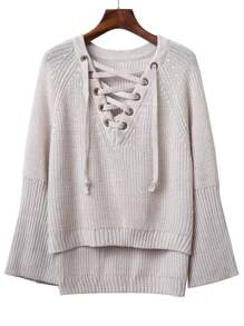 V Neckline Grommet Lace Up Raglan Sleeve Sweater